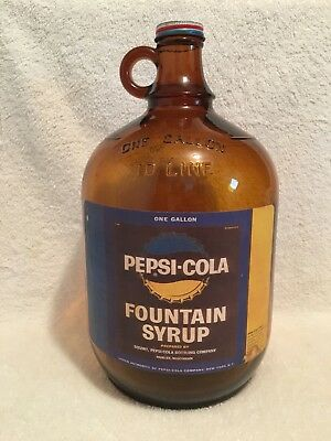 Nice One Gallon Amber Pepsi-Cola Fountain Syrup Jug Bottle