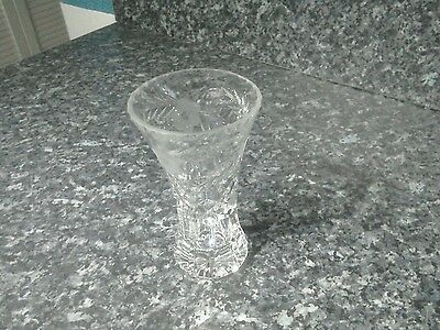 Small ,Heavy patterned cut glass vase
