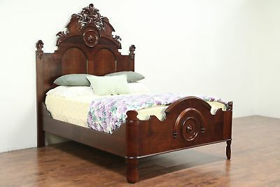 Victorian Antique 1860's Carved Cherry Queen Size Bed #29068
