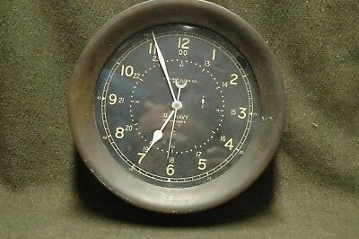 """WWII US NAVY Chelsea 10"""" Ships Clock pilot house clock,serial 297953 @ May 1942"""