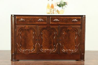 Victorian Antique Walnut Sideboard, Server or Buffet, Marble Top #29085