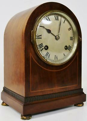 Antique J.J.E French Mahogany Satinwood Inlay Arched Case Striking Mantel Clock