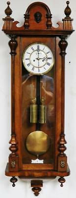 Antique Twin Weight Carved Walnut Slimline Vienna Wall Clock German 8Day C1880