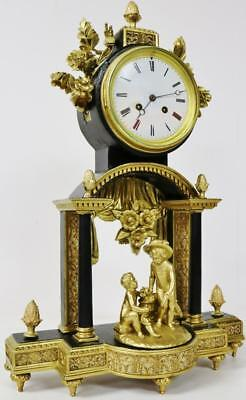 Lovely French Antique Ebonised & Gilt Wood Striking Portico Style Mantel Clock