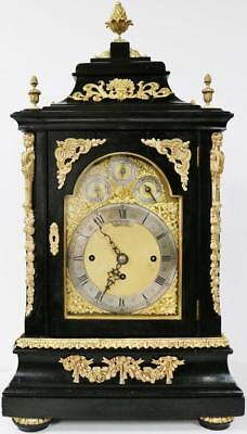 Super English Directors Ebony Ormolu Inlaid 8 Bel Musical Striking Bracket Clock