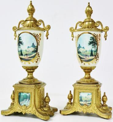 Fine Vintage Italian Hermle Cream Sevres Mantel Clock Garniture Urns Side Pieces