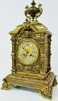 Super Large French Ornate Pierced Embossed Bronze Ormolu Cube 8 Day Mantel Clock