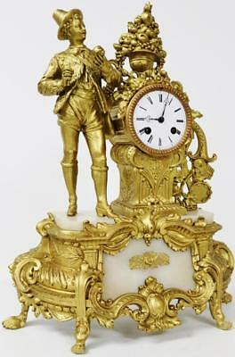 Original Antique French Figural Gilt Spelter & Marble Mantel Clock C1880 Working