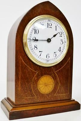 Excellent Antique French 8Day Inlaid Mahogany Lancet Mantel Desk Clock Circa1900