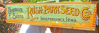 Antique Rush Park Seed Co., Independence, Iowa, Store Counter Wood Display Box