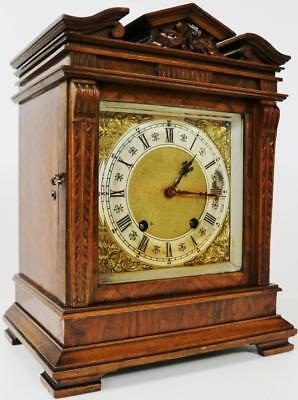 Antique 8 Day Striking Carved Walnut Lenzkirch Mantel Bracket Desk Clock C1890