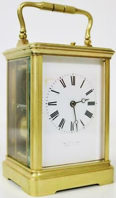 C&J 8 Day Antique French Bronze Carriage Clock Gong Striking Repeat Mantel Clock