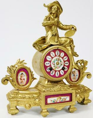 Antique French Gilt Spelter Red Sevres Porcelain Figural Striking Mantel Clock