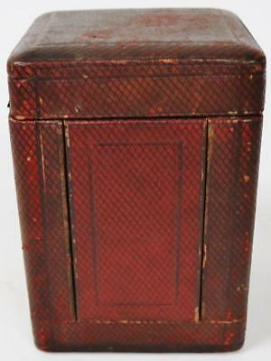 Antique French Red Leather Carriage Clock Mantle Clock Box Carry Case