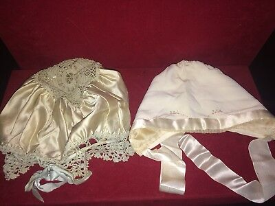 Set of Two Antique / Victorian Satin, Embroidery, Crochet Baby Hats ADORABLE