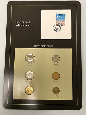 6 PC Coin Sets of All Nations State of Kuwait Stamped Page Dirhams FREE SHIPPING