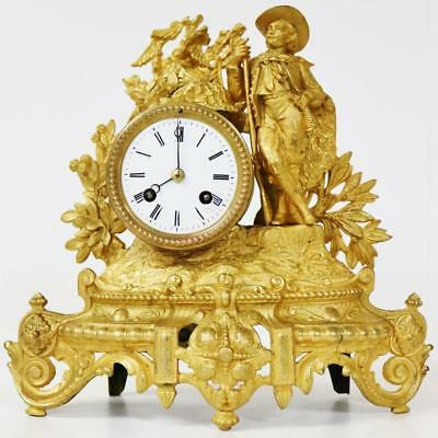Original 8 Day Antique French Farmer Figural Gilt Metal Striking Mantel Clock