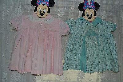vintage 1950s baby toddler girl pink and teal LOT 2 dress
