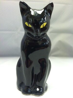Mid-Century  Black Cat Figurine HAND PAINTED FACE With Yellow Eyes Japan RARE