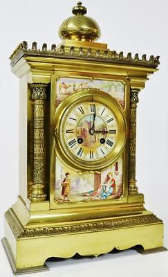 Fine French Antique Ormolu Bronze Sevres 8 Day Striking Mantel Clock Japy Freres