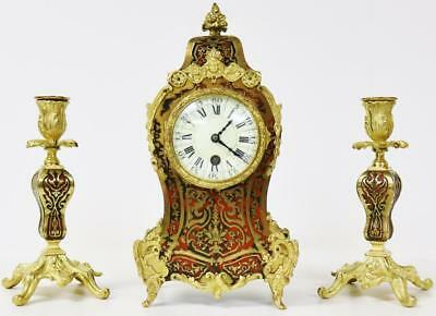 Antique Rococo Red Shell Inlaid Ormolu Boulle Mantel Candelabra 8 Day Clock Set