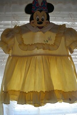 Vintage baby toddler ruffle Nannette 1950s girl yellow dress Size 1