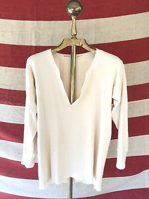 Vtg 30s 40s Henley Cotton Long Sleeve Shirt Thermal Workwear WW2