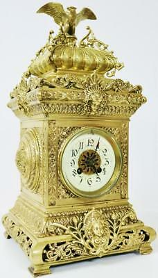 Outstanding 8 Day French Antique Bronze Ormolu Gong Striking Cubed Mantel Clock