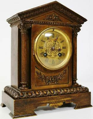 Antique French Cubed Bronze 8 day Mantel Clock - C1880 Bell Striking S.Marti