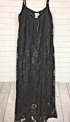 Motherhood Maternity Womens XL Black Night Gown SleepWear Lined Lace Photo Shoot