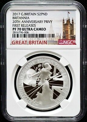 2017 GBritain £2 1oz Silver Proof Britannia-20th Anniv Trident Privy NGC PF70 FR
