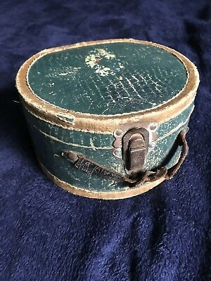 Vintage Antique Wood Cardboard And Leather Hinge Wig Hat Box RARE Painted !