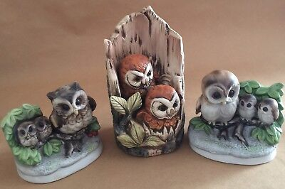 Lot of 3 Owl Family Figurines