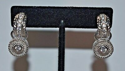 JUDITH RIPKA Sterling Silver 925 CZ Hoop Drop Dangle Round Charm Earrings