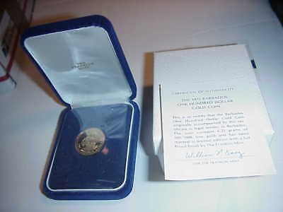 1975 Barbados $100 Gold Proof Coin In Original Holder