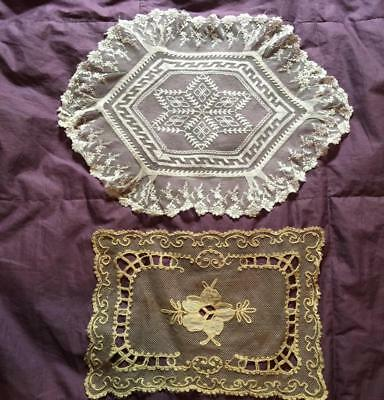 2 Antique Tambour Net Lace Tulle Pieces Centerpiece & Mat -A Must See!