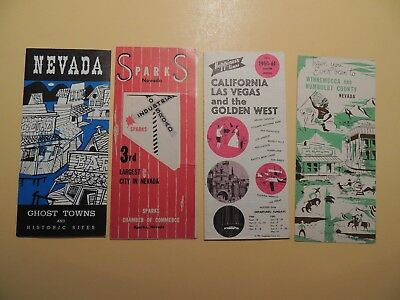 Lot 4  brochures Nevada tourist vintage brochures Las Vegas Winnemucca Sparks
