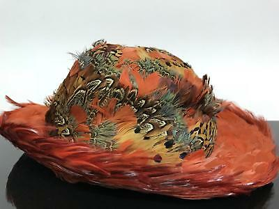 Vtg Designer Rustic Orange Real Bird Feather Couture Derby Royal Wedding Hat