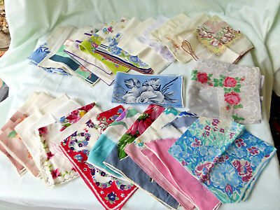 Vtg Lot of 26 HANKIES Floral Red Blue Brown Cotton Handkechiefs Embroidered