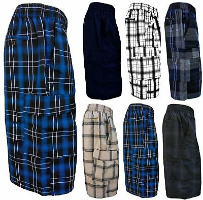Yago Mens Plaid Cargo Checker Shorts