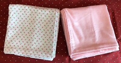 "Two large receiving blankets, pinks and white, 42""x33"", Handmade, Baby girl, New"