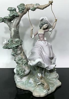 Signed LLADRO Spain Glazed Porcelain Lady On Swinging Statue Figurine 9163