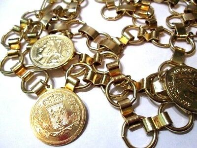 Fashion French Faux Coin Belt Bright Gold Tone Metal Links Heavy Vintage