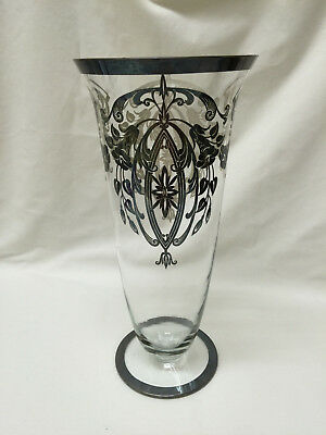 Art Nouveau Style Trumpet Vase with Silver Overlay