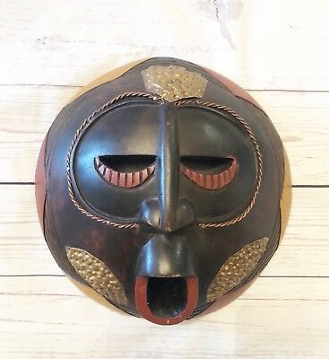 "Hand-Carved Wooden African Tribal Mask Made in Ghana Genuine Art 10""D"