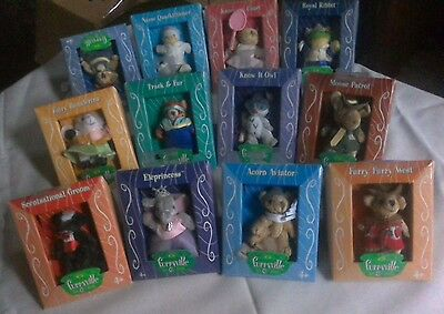 Lot of 12 Furrville characters, collectible animal figures, New