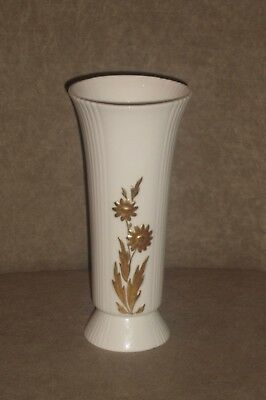 Rare Vintage Lenox Ribbed Ivory Vase With Gold Flowers & Leaves ~ Old Blue Mark