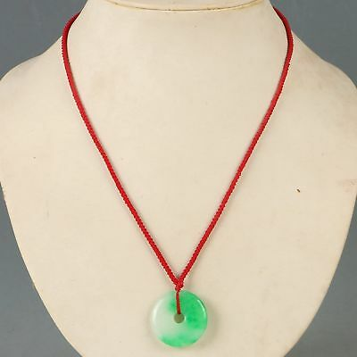 Chinese Exquisite Jade Carved Safe Buckle Pendant & Necklace CC1295