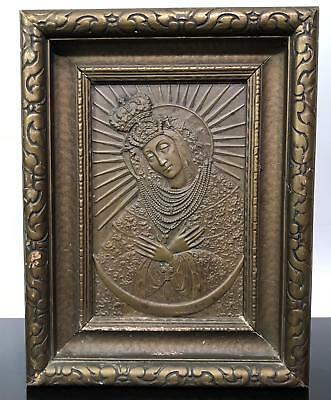 Antique Religious Brass Relief Russian Catholic Orthodox Icon Wall Art Plaque
