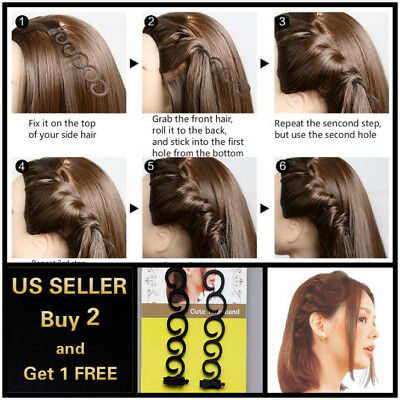 2Pcs Side Hair Styling French Braid Clip Magic Stick DIY Bun Maker Tool